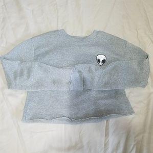 Sweaters - Light grey alien logo cropped sweater